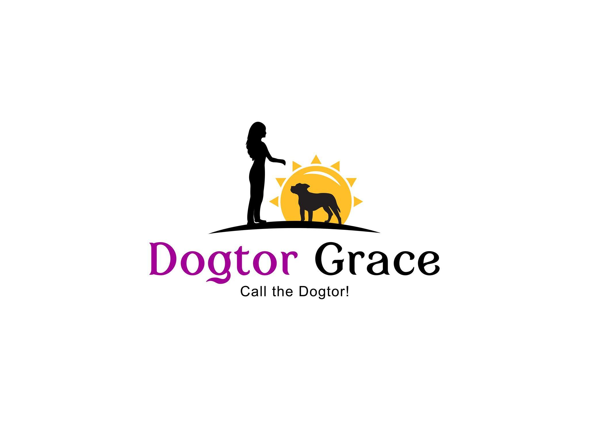 This is the Dogtor Grace logo.  It shows the silhouettes of a lady and a dog, and they look to have a good connection. They are standing in front of the sun.