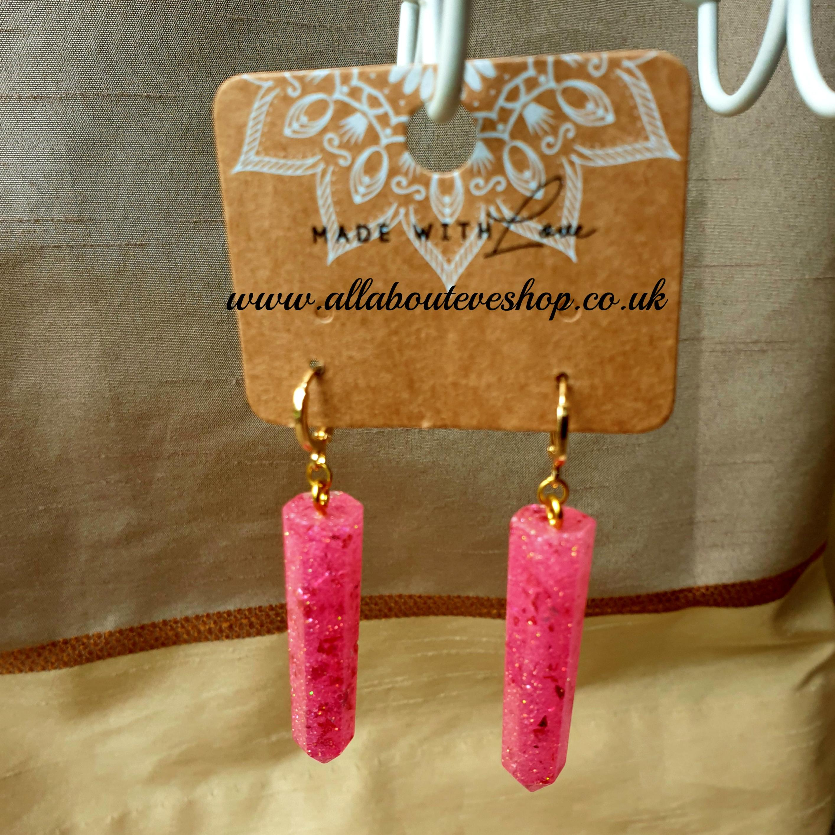 Pink sparkle dagger earrings