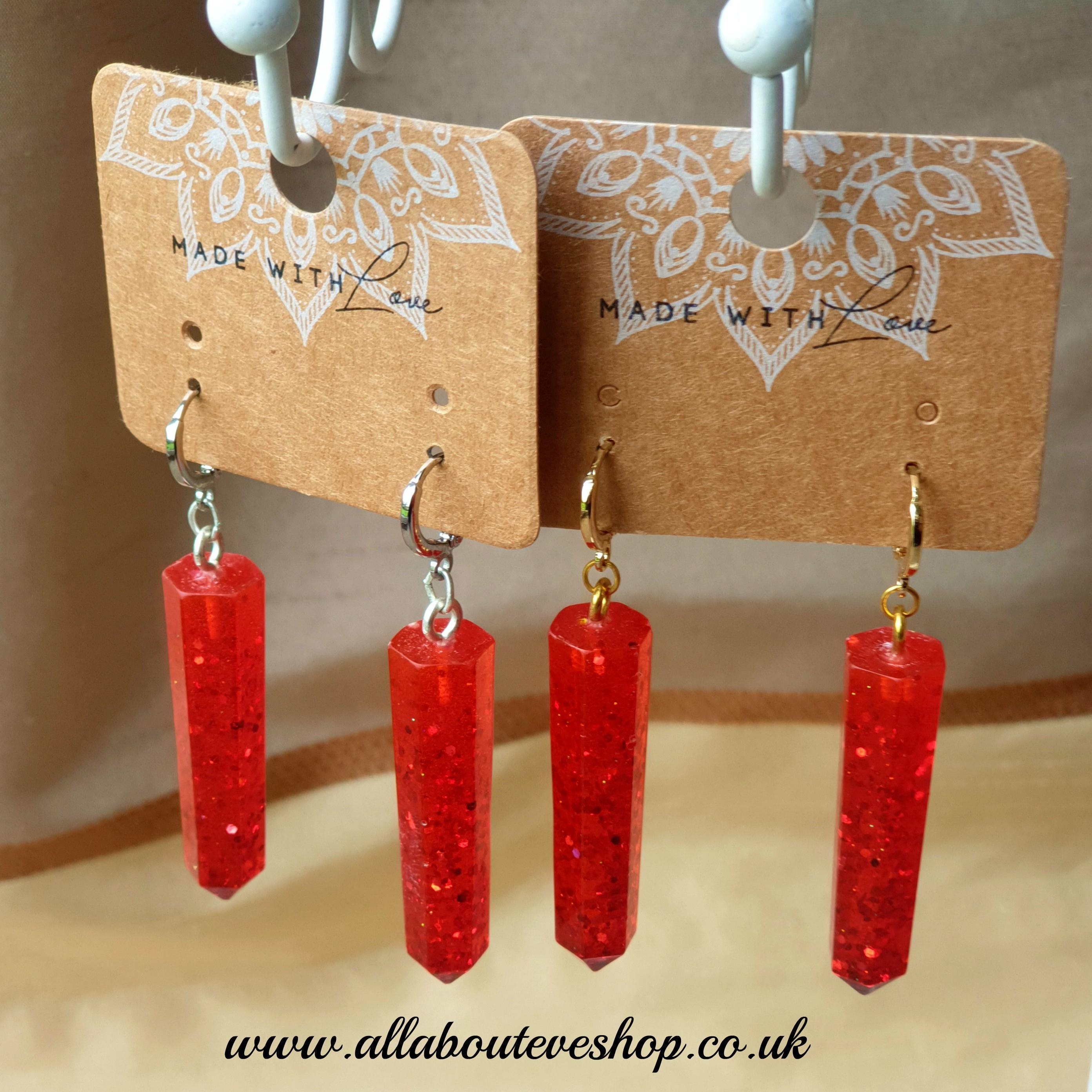 Red glitter dagger earrings