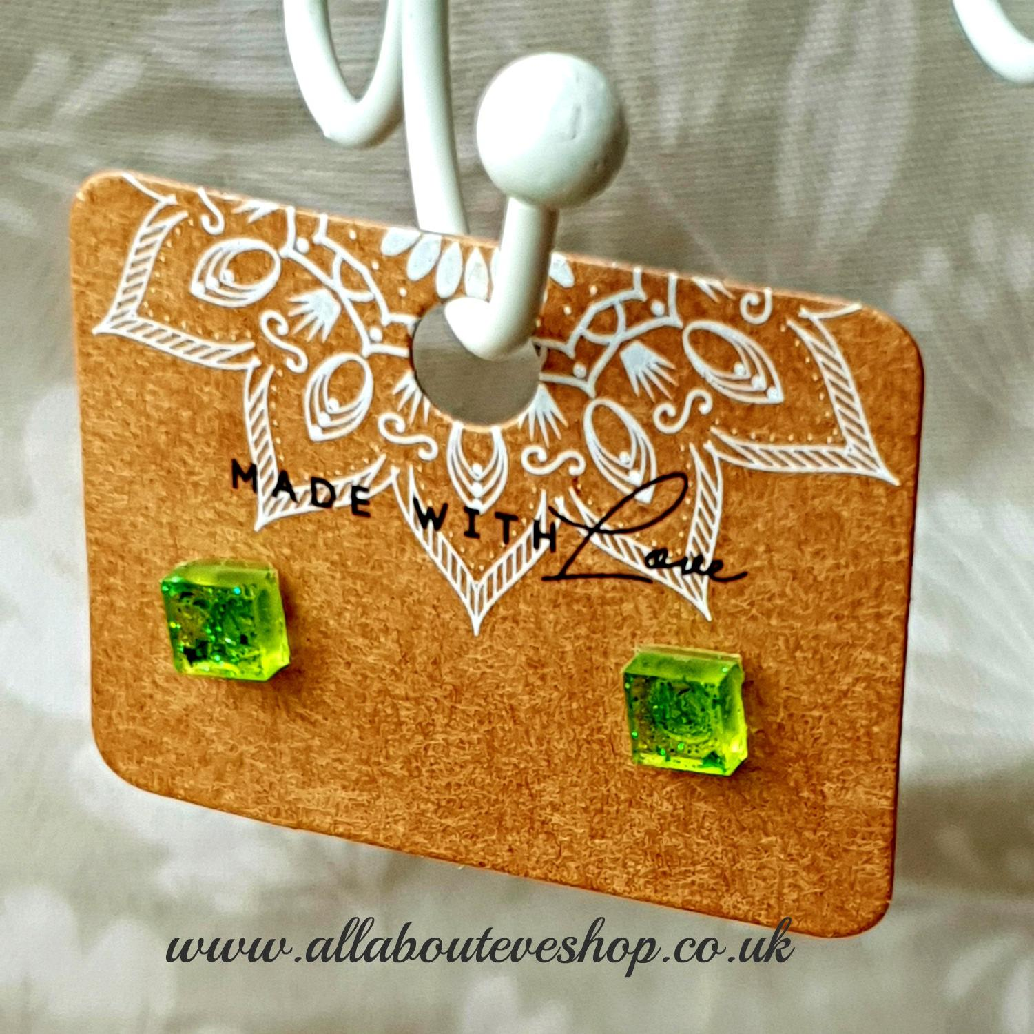 Green square studs