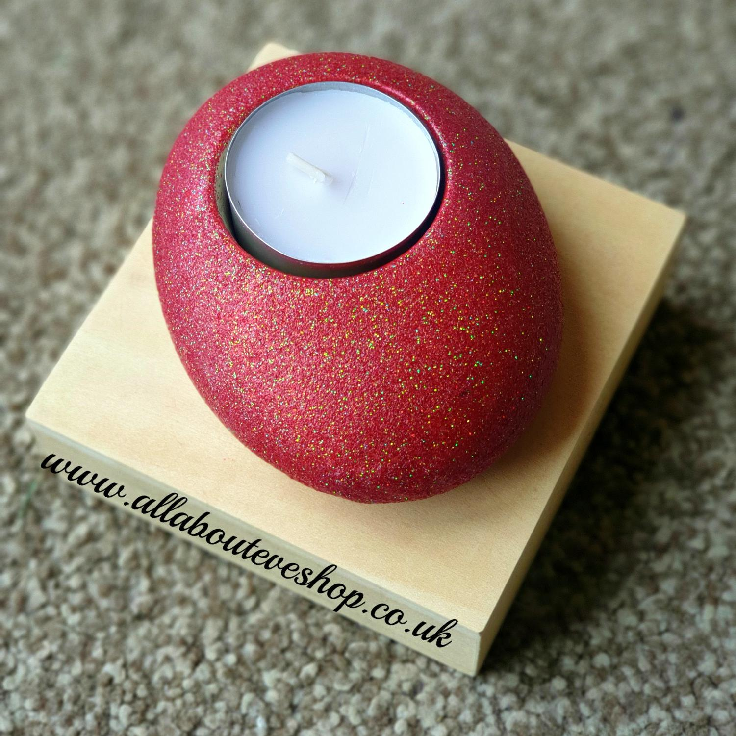 Red Sparkle Tealight Pebble