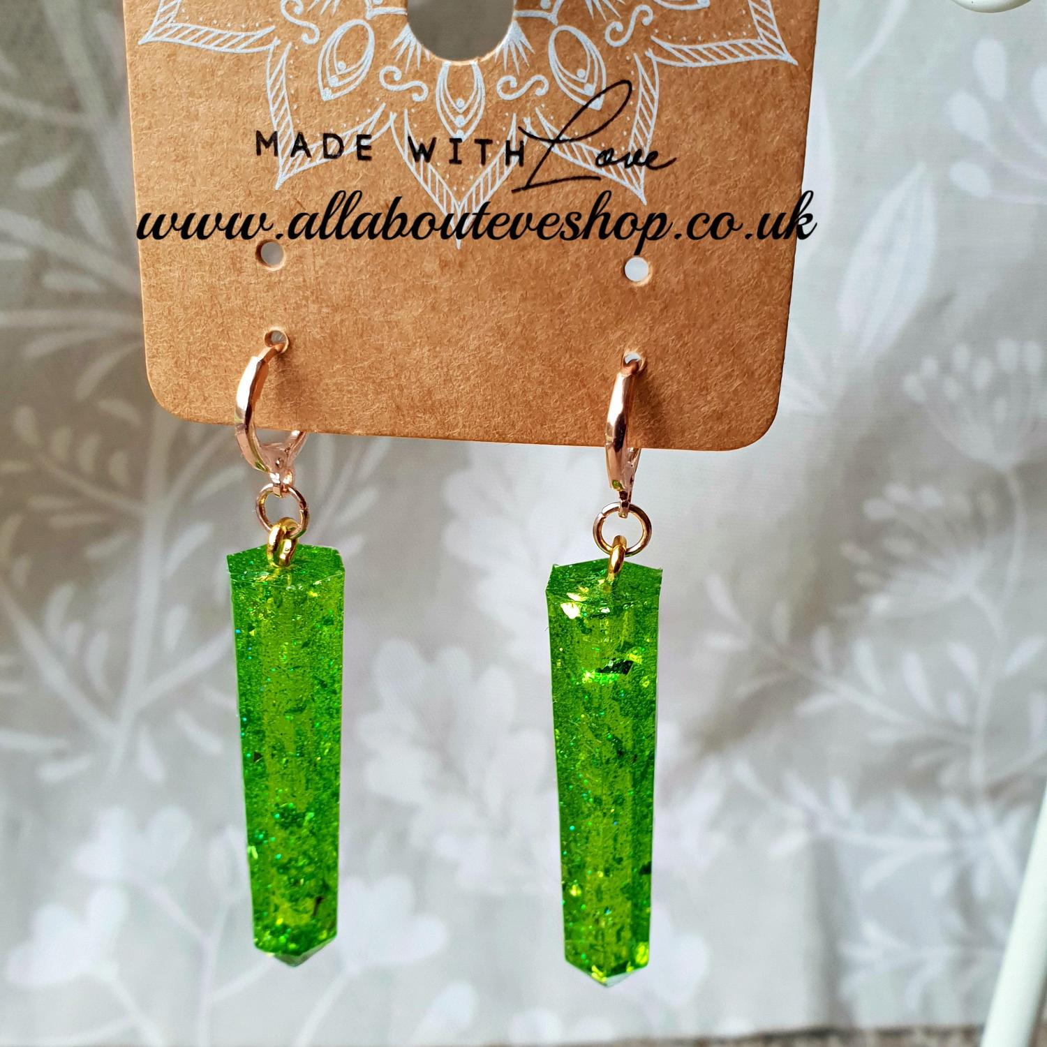 Green glitter dagger earrings