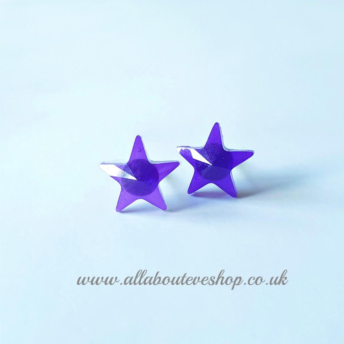 Purple star studs