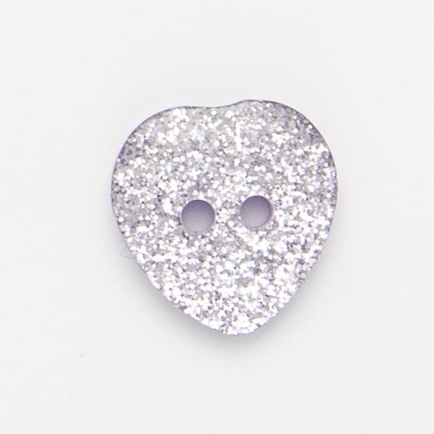 Glitter Heart Buttons Size 28 100 Piece Bag P29128