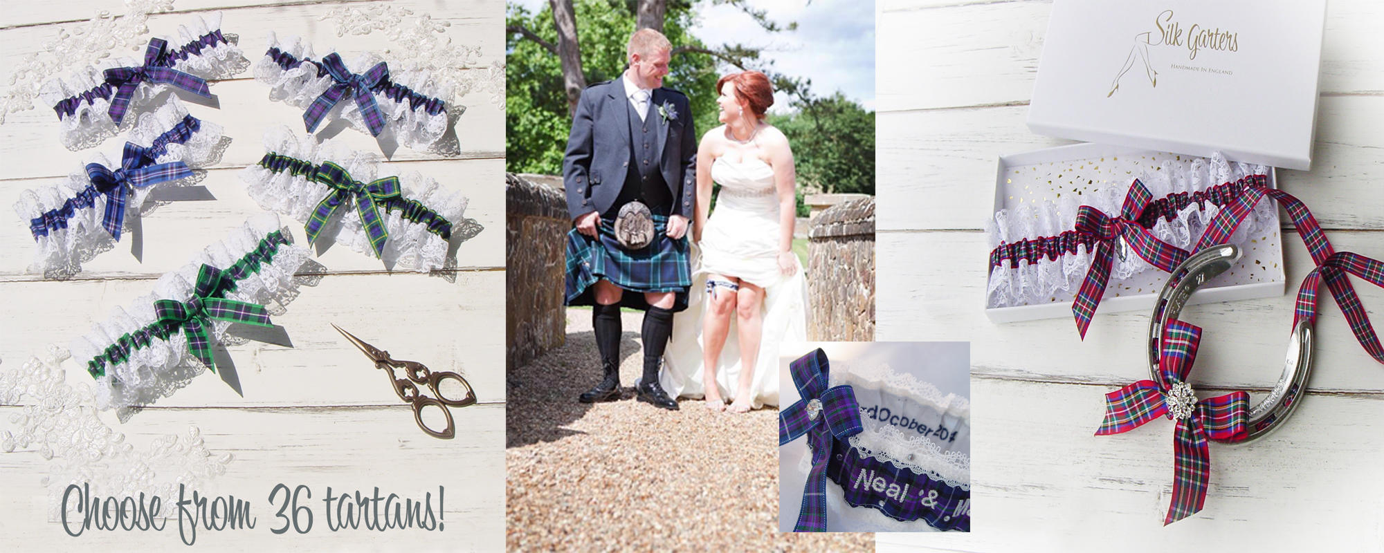 Tartan Wedding Garters! 36 Scottish, Irish, Cornish & Football Tartans