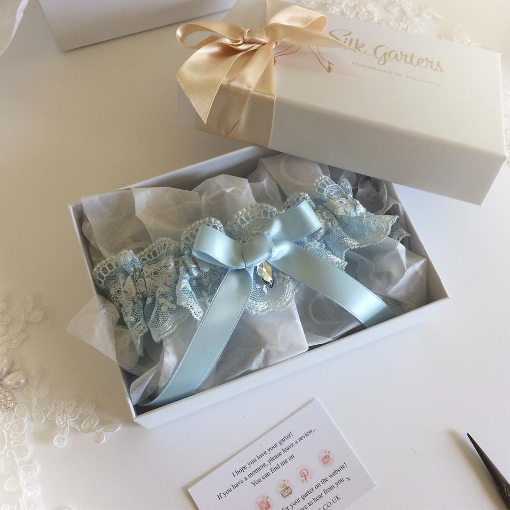 Wedding Garter blue embroidered tulle in gift box