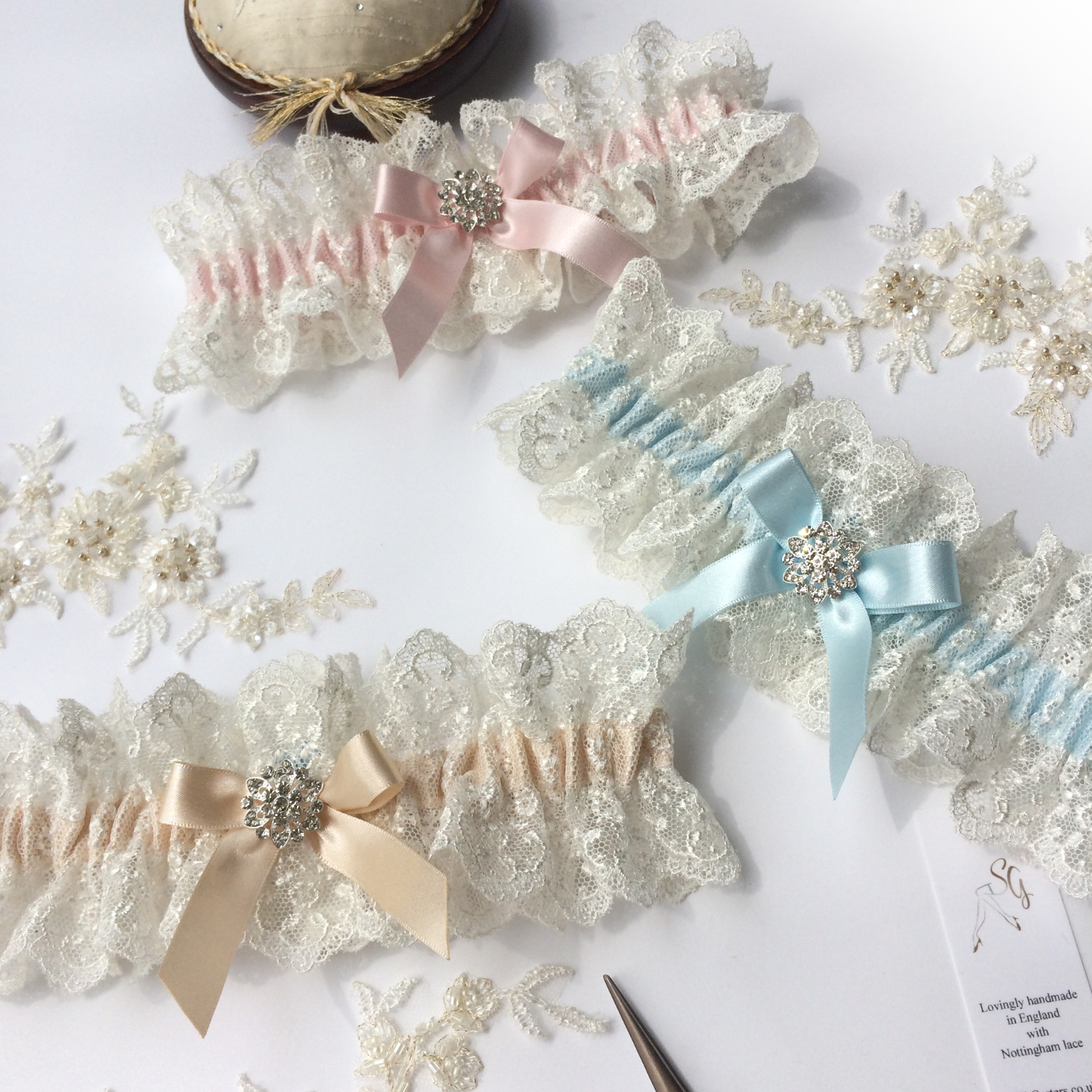 Baby blue, champagne and blush wedding garters cotton lace