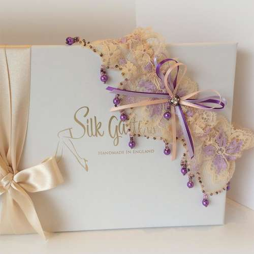 Purple pearls wedding garter luxury dream wedding garter
