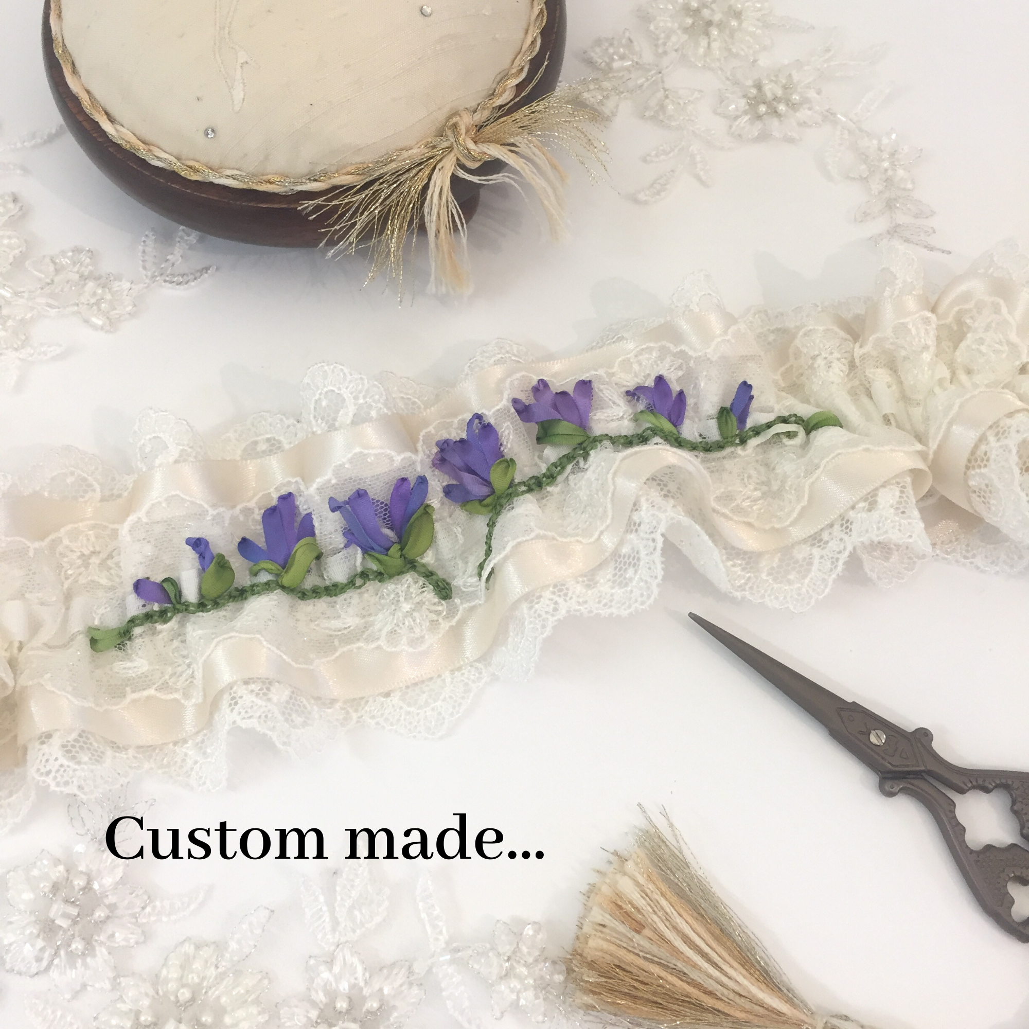 Making the gorgeous hand embroidered garter
