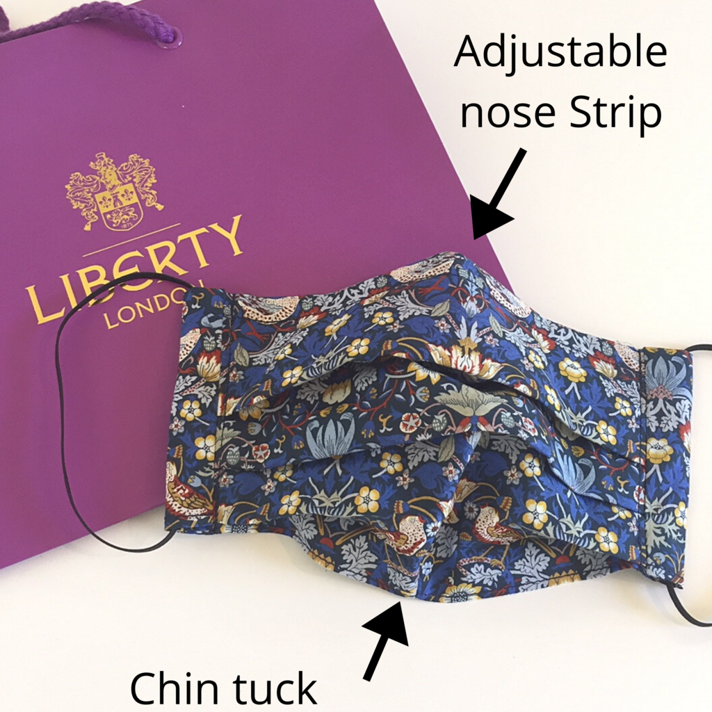 Liberty print face mask with nose wire and wedding masks