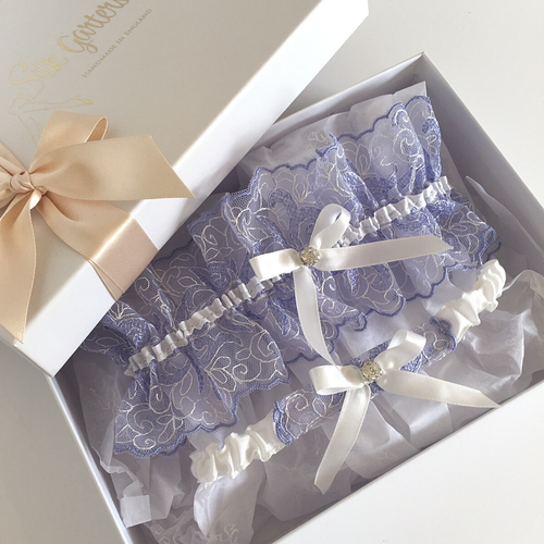 Lavender blue wedding garter set