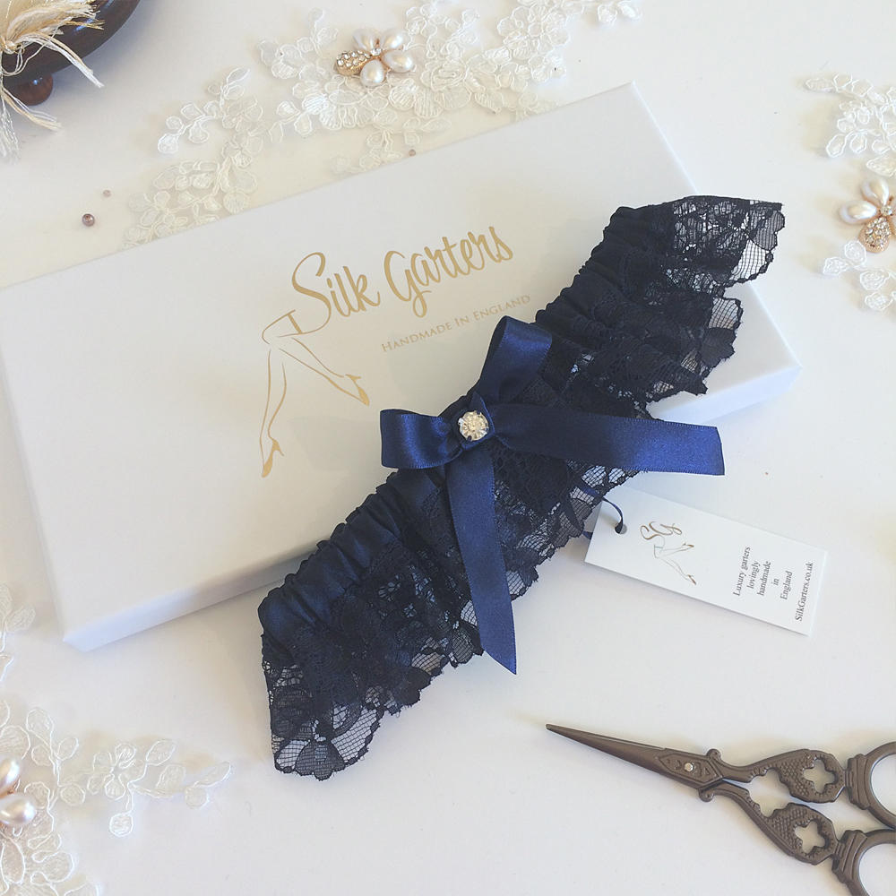 Dark navy blue wedding garter with crystal