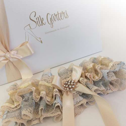 Decadent Nottingham lace ruffle wedding garter gift boxed
