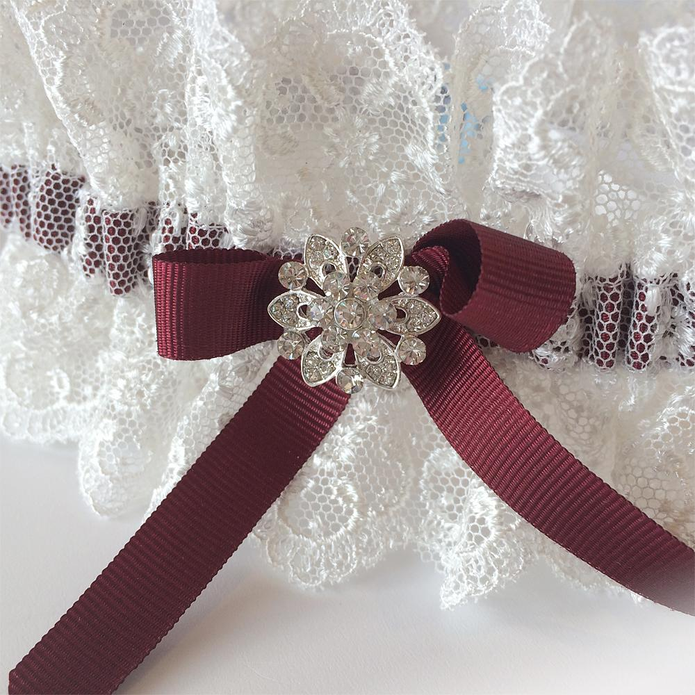 burgundy nottingham lace wedding garter handmade