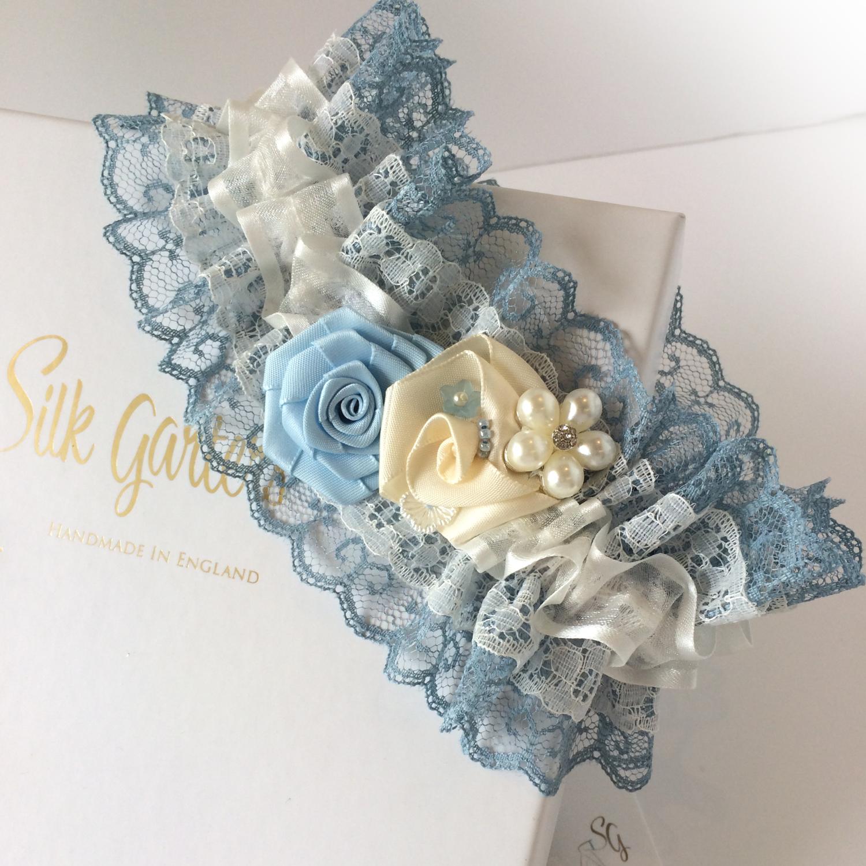Blue Wedding Garter Uk: Vintage Lace Wedding Garter * Betsy * In Dusty Blue