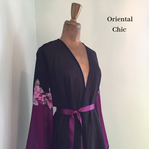 Black & Purple Robe - Bride Robe - lingerie kimono - bridal dressing gown