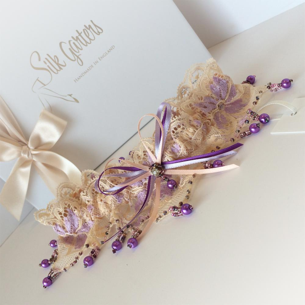 luxury dream wedding garter purple pearls
