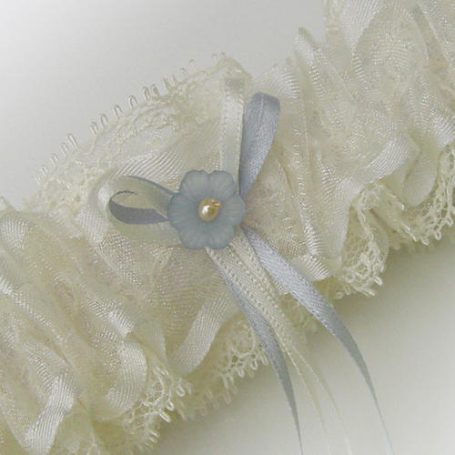 Longtail bows little flower bridal garter