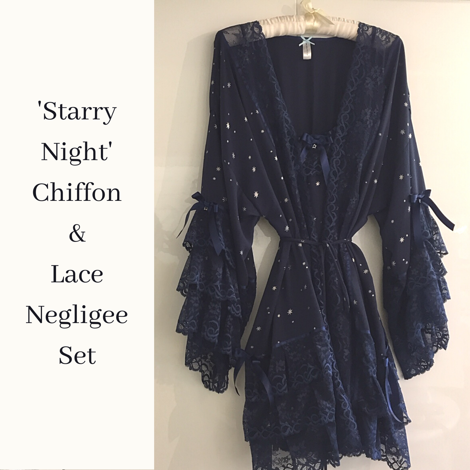 Dark blue Chiffon and lace negligee set gift for her