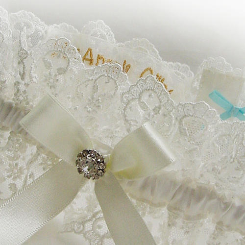 This is an image of a pretty lace wedding garter by silk garters uk