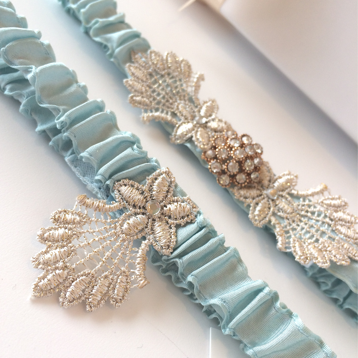 Vintage wedding garter set gatsby duck egg blue
