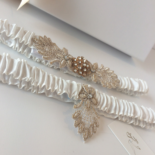 Vintage ivory wedding garter set Gatsby