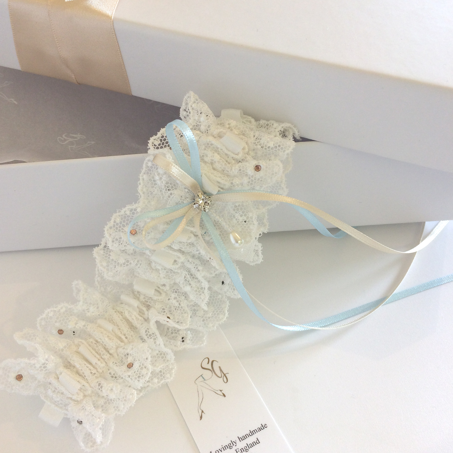 Vintage Nottingham lace and silk duck egg wedding garter