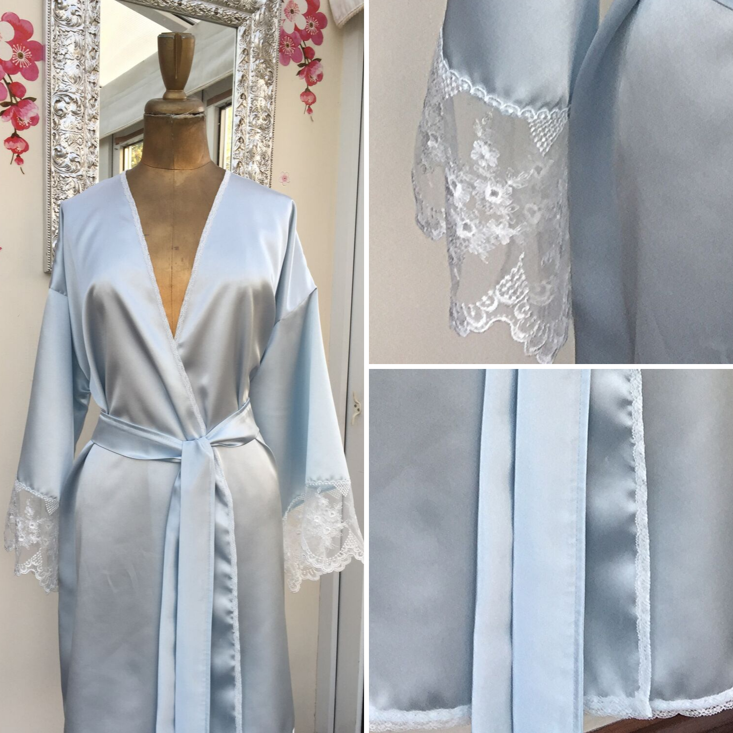 Something Blue Robe - Bride Robe - lingerie kimono - bridal dressing gown