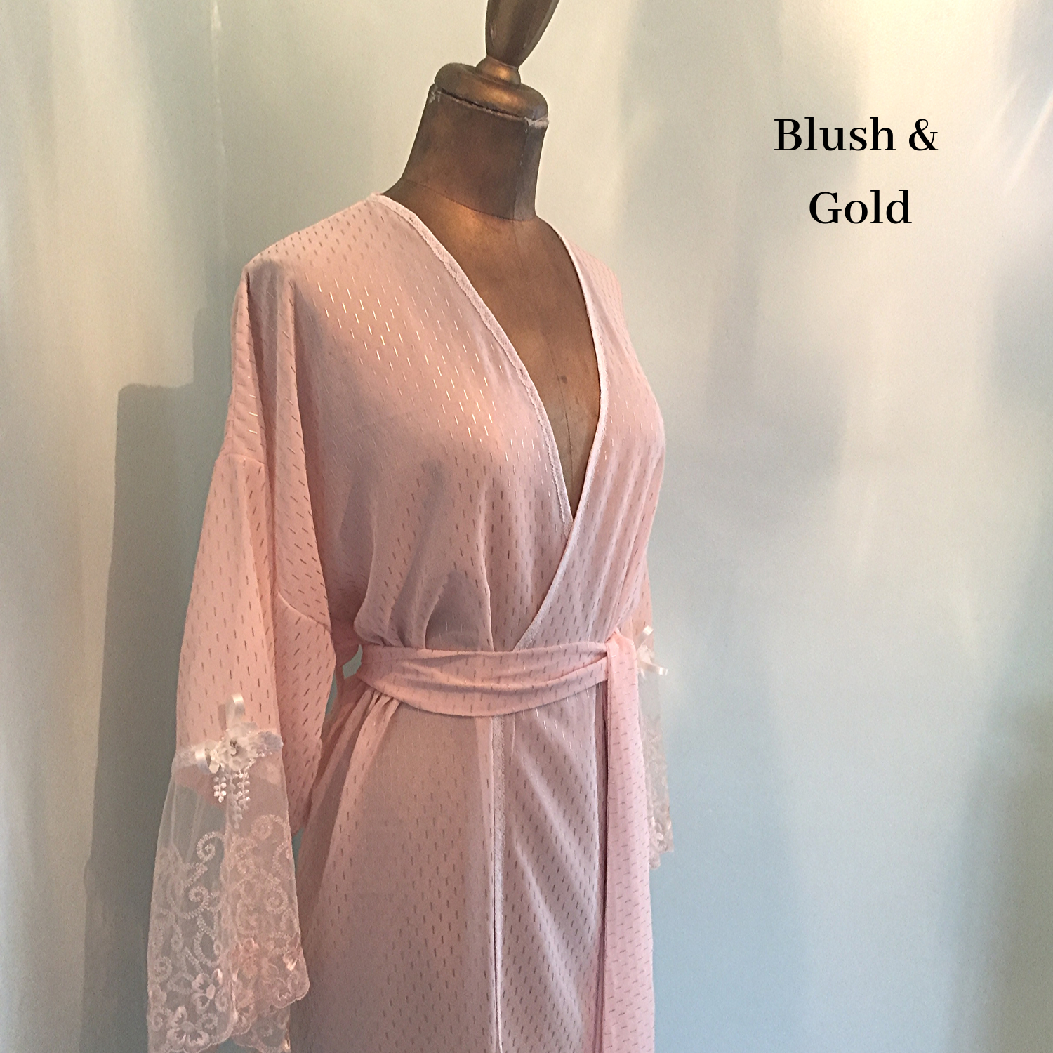 blush pink and gold bridal dressing gown