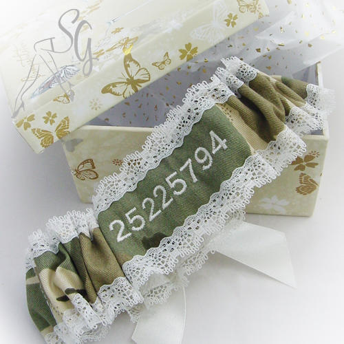 army garter unique personalised military bride