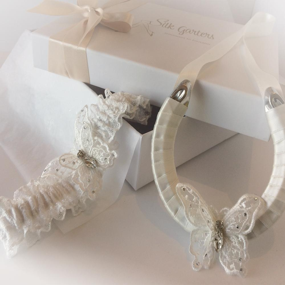 Nottingham lace wedding garter set