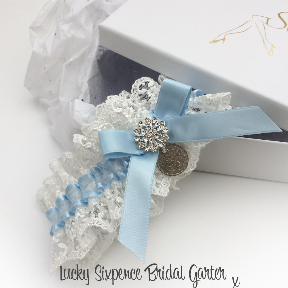 Millwall Luxury Personalised Brides Wedding Garter with Lucky Sixpence