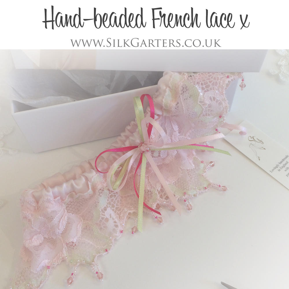 dream wedding garter in pink French lace