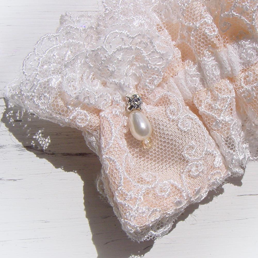 Luxury filigree Champagne silk wedding garter with rose ...