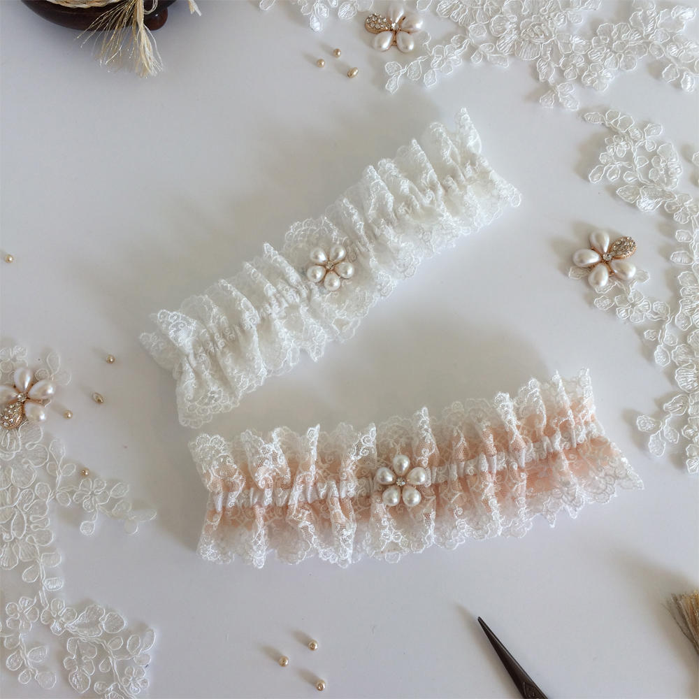 luxury filigree wedding garter champagne rosegold pearls