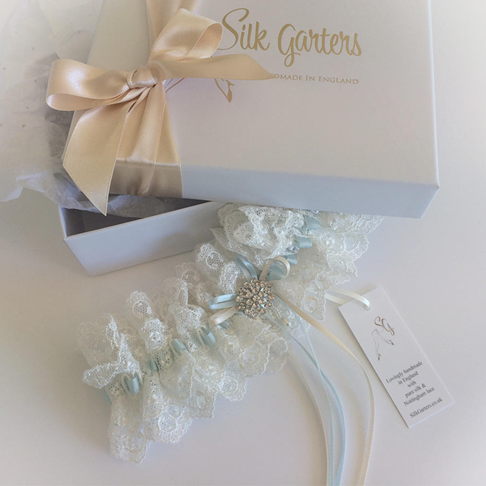 Exclusive cotton Nottingham lace wedding garter
