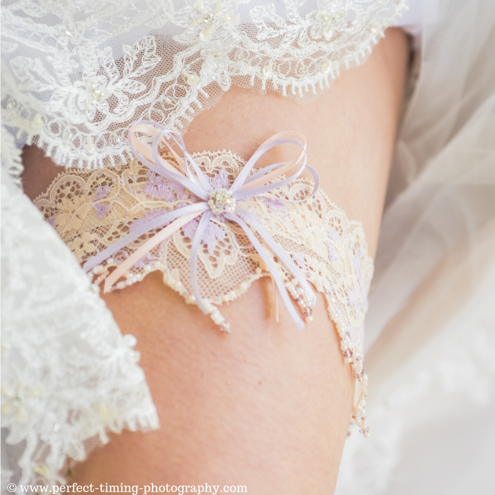 Unique wedding garter in French lace