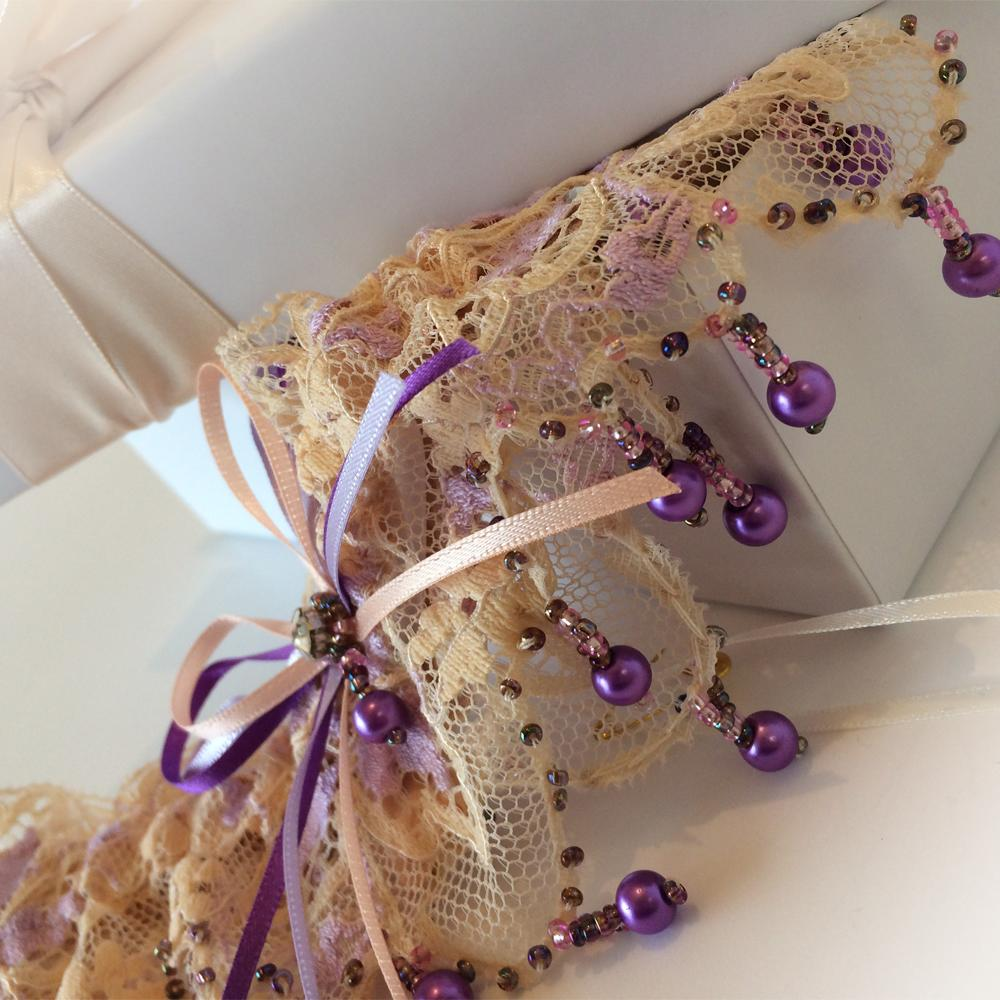 luxury dream wedding garter purple champagne