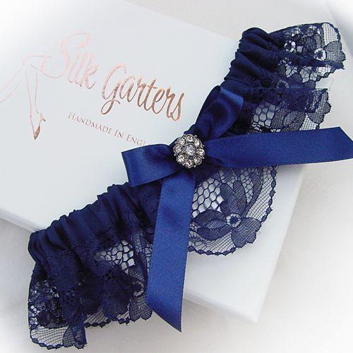 Tradition Of Wedding Garter: Dark Navy Blue Wedding Garter With Diamante Crystal