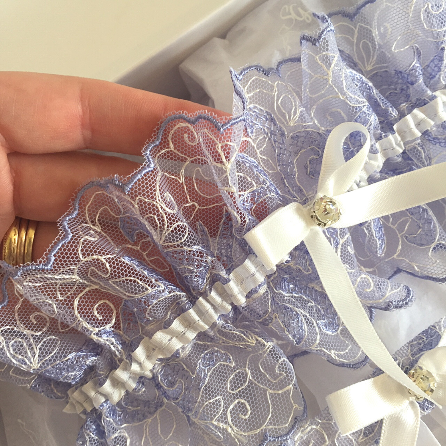 Designer wedding garter