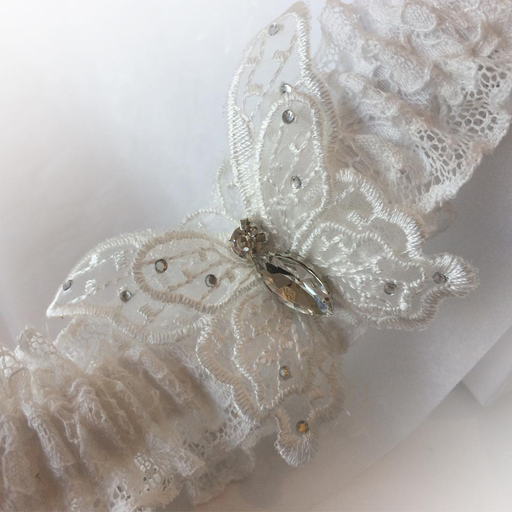 Butterfly kisses wedding garter set