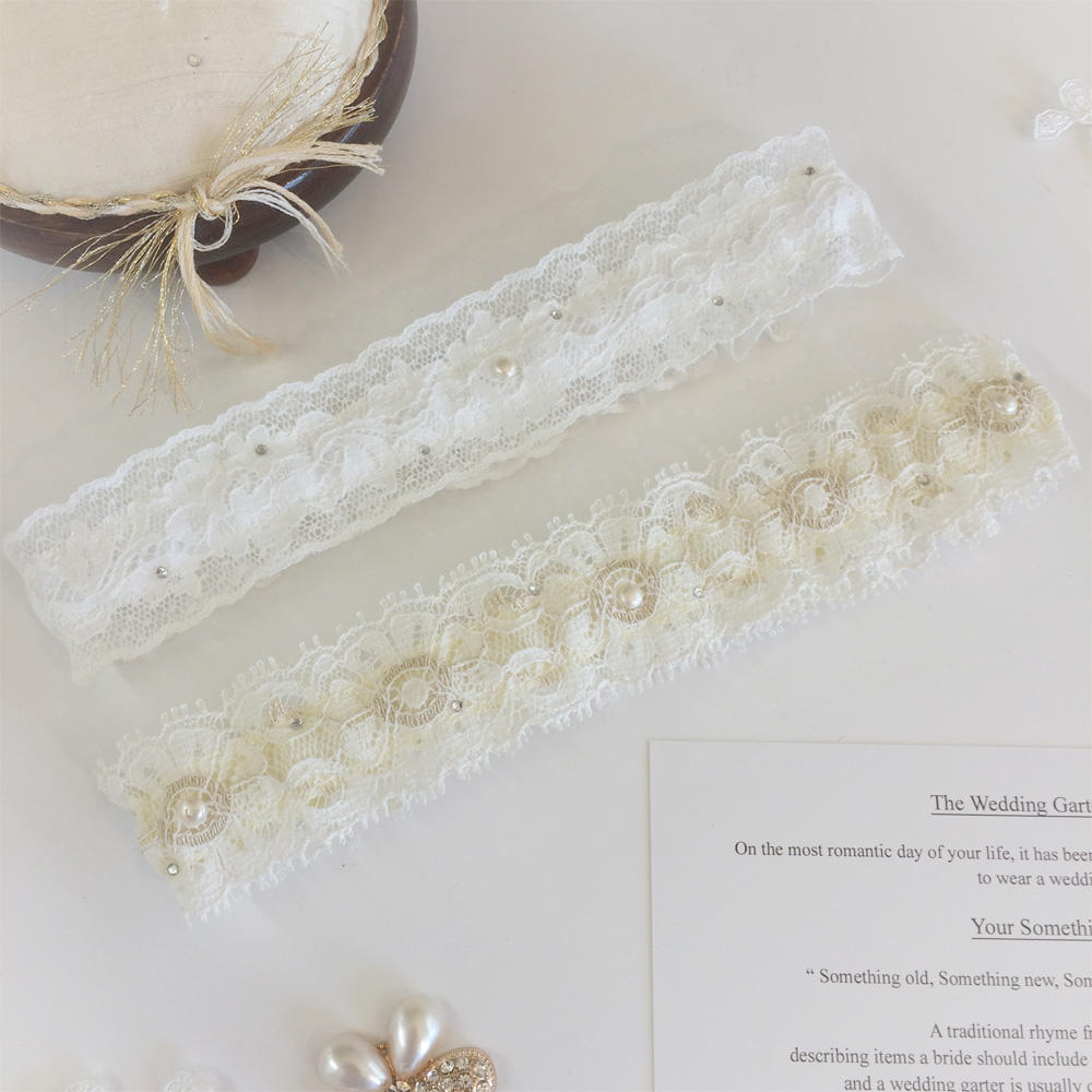 nottingham lace wedding garter personalised inside