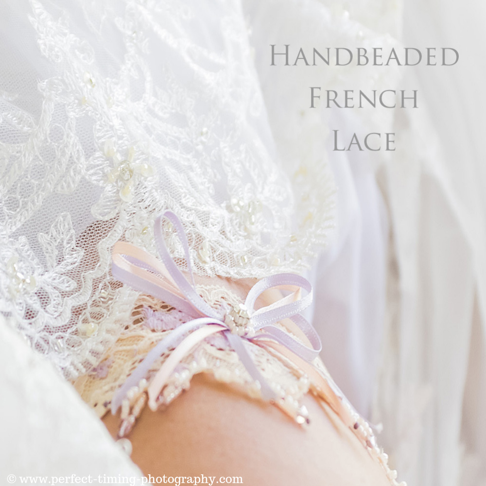 Luxury bridal garter in champagne lace
