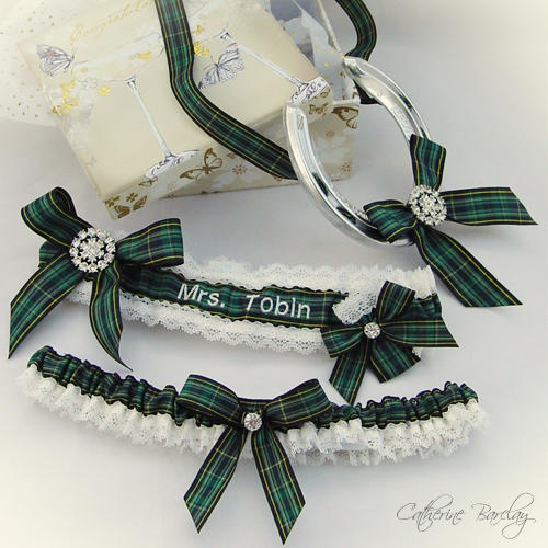 pride of ireland tartan wedding garter set
