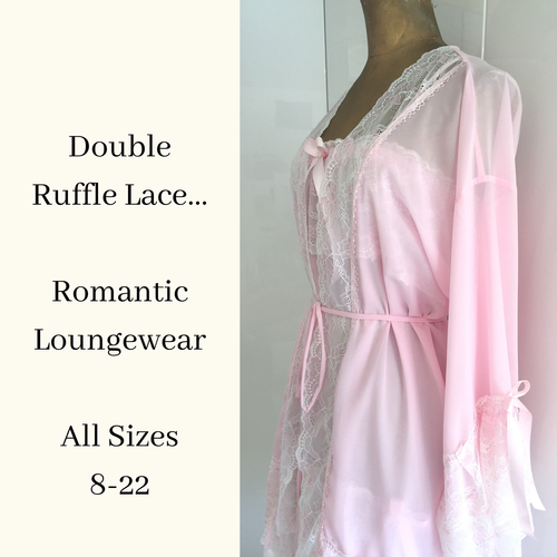 Ruffled lace negligee set UK