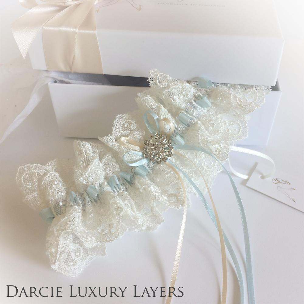 An extravagant double layer wedding garter in Nottingham lace