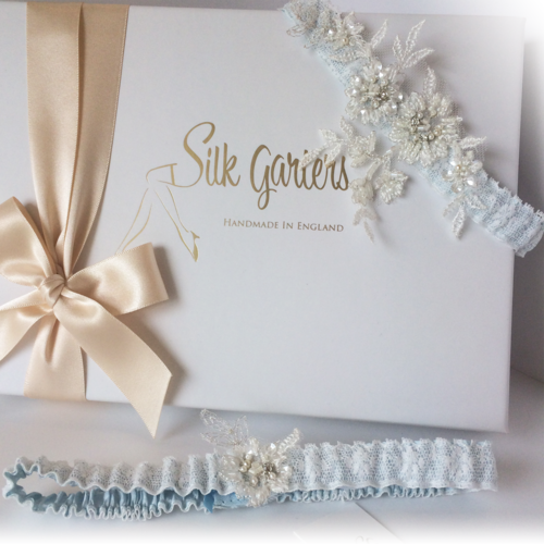 Wedding garter set Mia in Blue