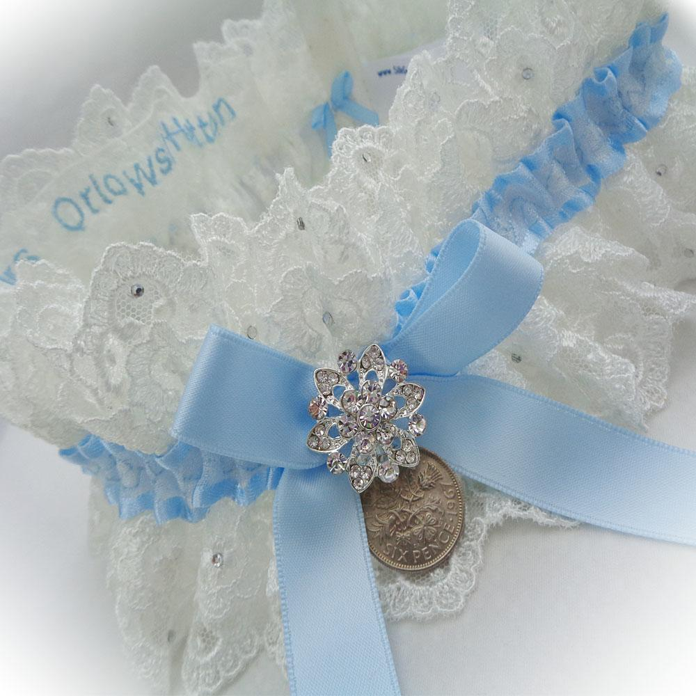 Lindsay's double layer wedding garter personalised inside