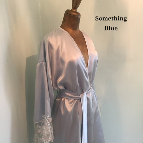 Blue Satin dressing gown  - Bride Robe - lingerie kimono - bridal dressing gown