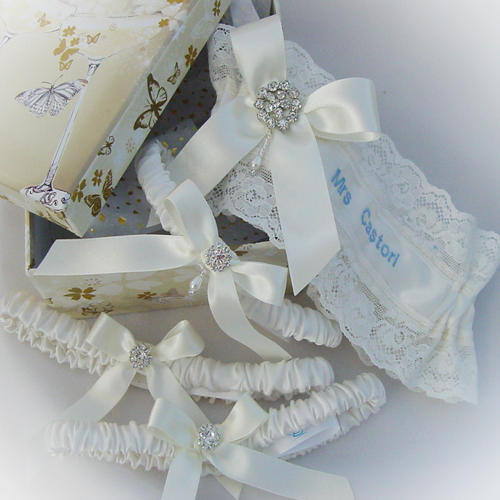 Gallery of custom made wedding garters